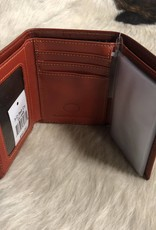 3D WALLET TAN ANTQ W/RN HAIR CROSS INLAY