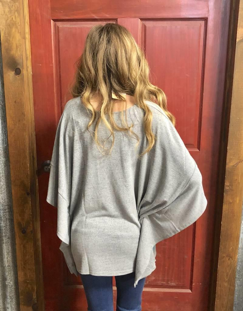 ROPER WNS PONCHO HEATHER GRAY SWEATER KNIT TURQ PRINT