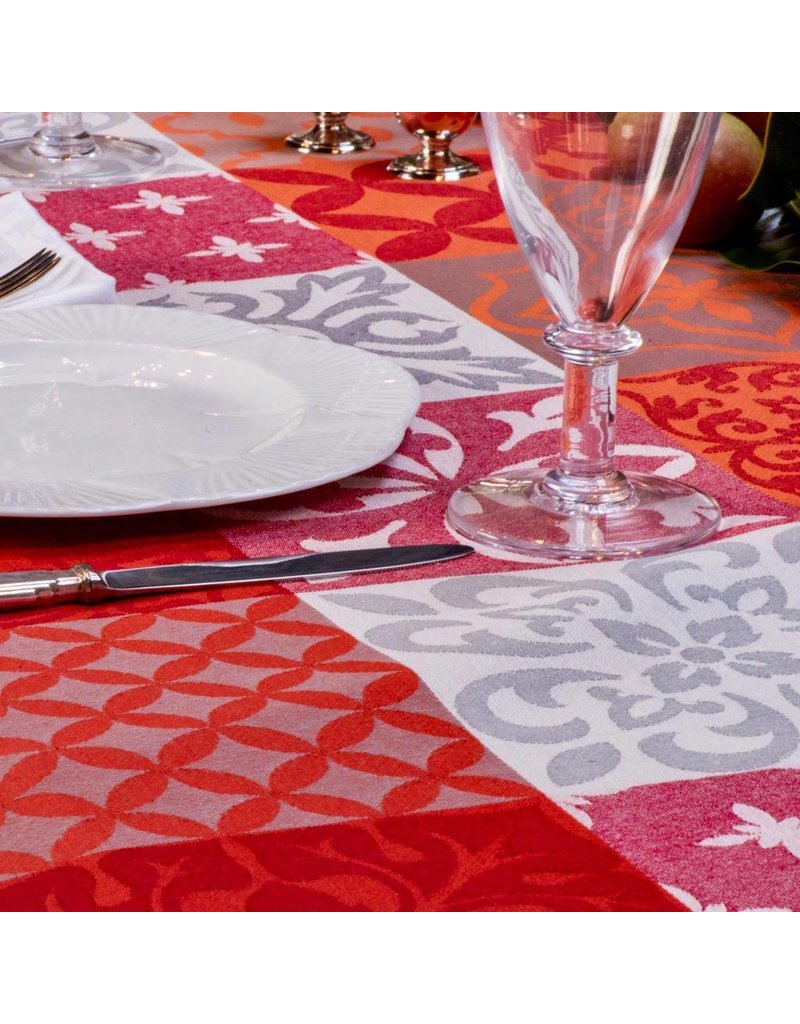 Carces Jacquard, Grey w/ Red Orange