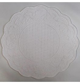 Quilted Round Placemat, White