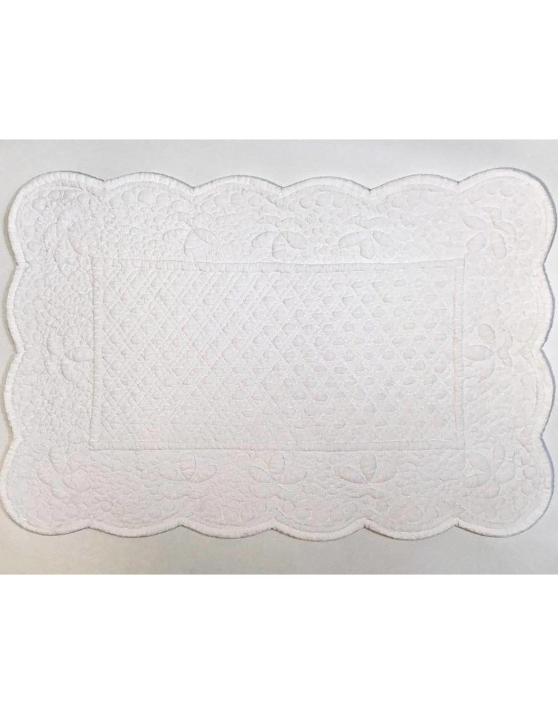 Quilted Rectangle Placemat, White