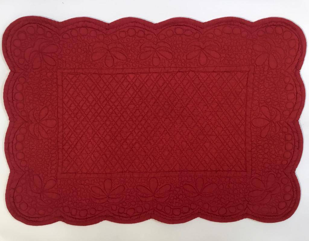 Quilted Rectangle Placemat Red Amelie Michel Llc