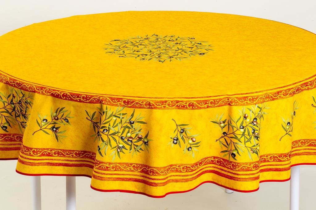 Coated French Tablecloth Round W Umbrella Hole Yellow