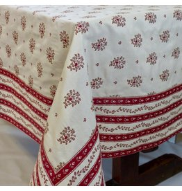 Beaumaniere Jacquard, Red/Ecru, 55 in x 55 in