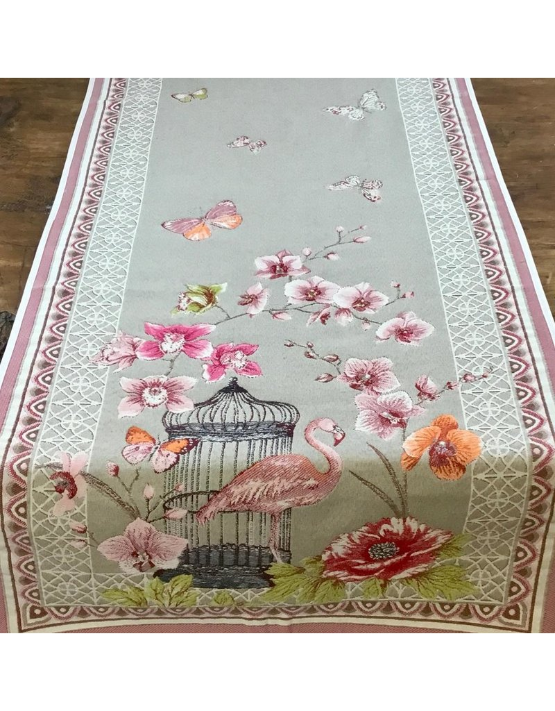 Runner Jardin Flamingo Linen Rose
