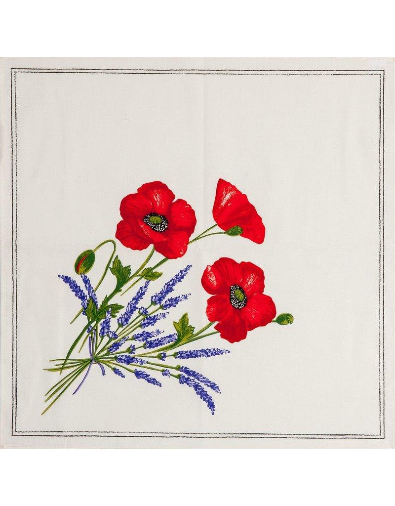 Napkin Poppies Ivory