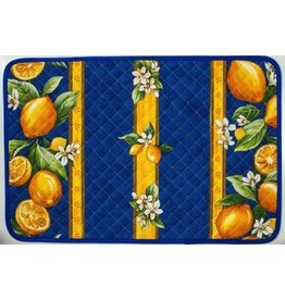 Placemat, Acrylic-Coated Lemons, Blue