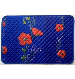 Placemat, Acrylic-Coated Poppies, Blue