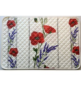 Placemat, Acrylic-Coated Poppies, Ivory