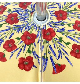 Acrylic-coated Poppies Yellow 70 in Round w/ Zipper