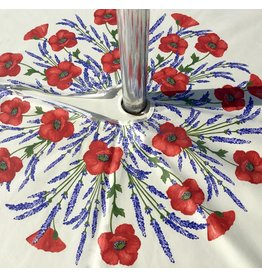 Acrylic-coated Poppies Ivory 70 in Round w/ Zipper