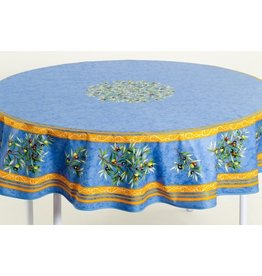 Cotton Olives Blue 70 inch Round