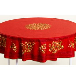 Cotton Olives Red 70 inch Round