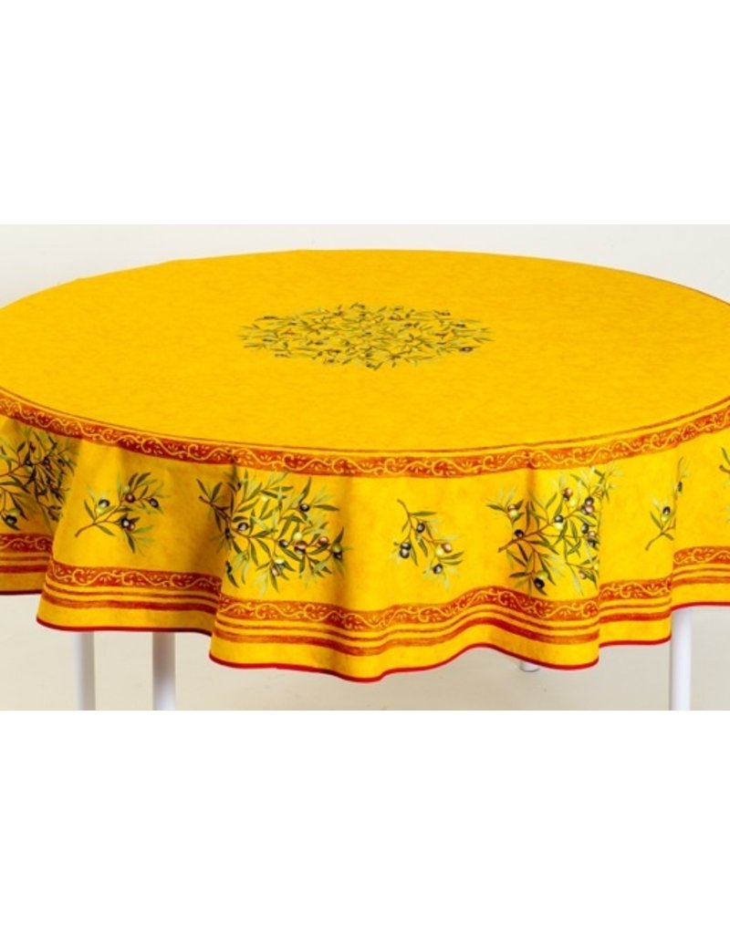 Cotton Olives Yellow 70 inch Round