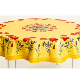 Cotton Poppies Yellow 70 inch Round