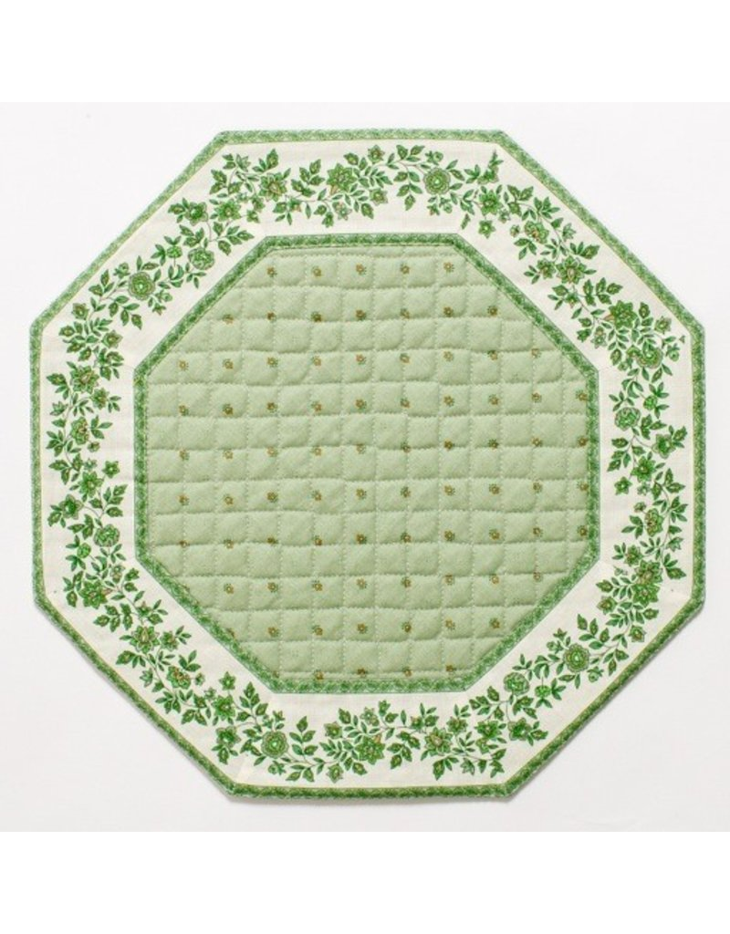 Green w/ White Border Calison Fleur Octagonal Placemat