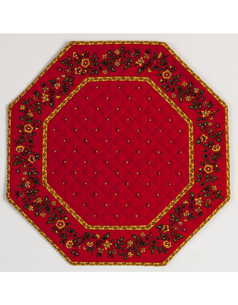 Red w/ Red Calison Fleur Octagonal Placemat