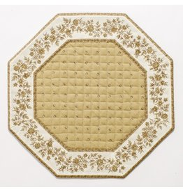 Taupe w/ White Border Calison Fleur Octagonal Placemat