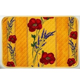 Placemat, Acrylic-Coated Poppies, Yellow