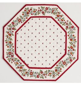 White w/ Red Calison Fleur Octagonal Placemat