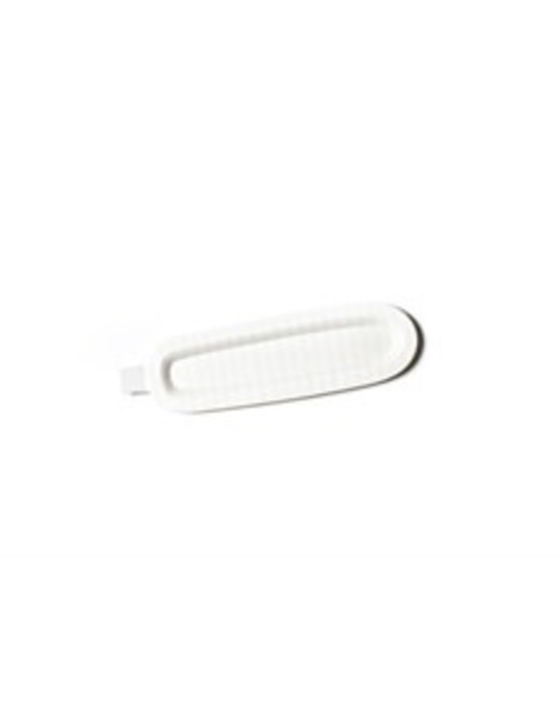 White Stripe Mini Skinny 17 Oval Entertaining Tray