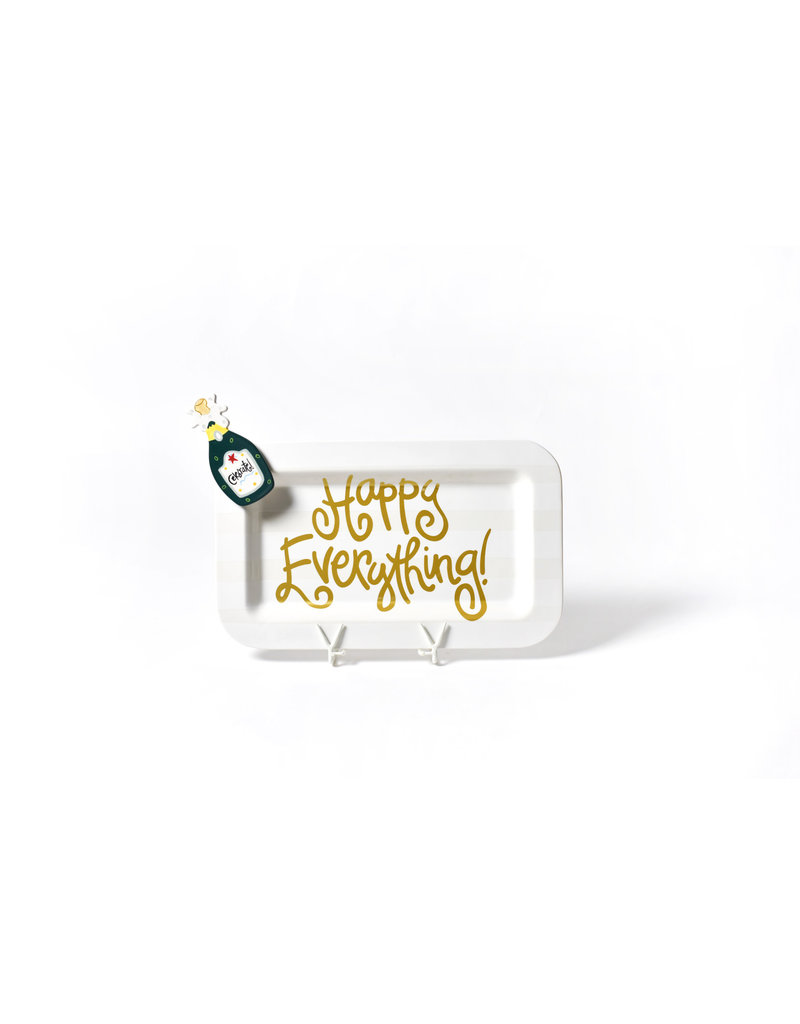 White Stripe Happy Everything Mini Rectangle Platter with Champagne Attachment