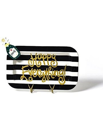 Black Stripe Happy Everything Mini Rectangle Platter with Champagne Attachment