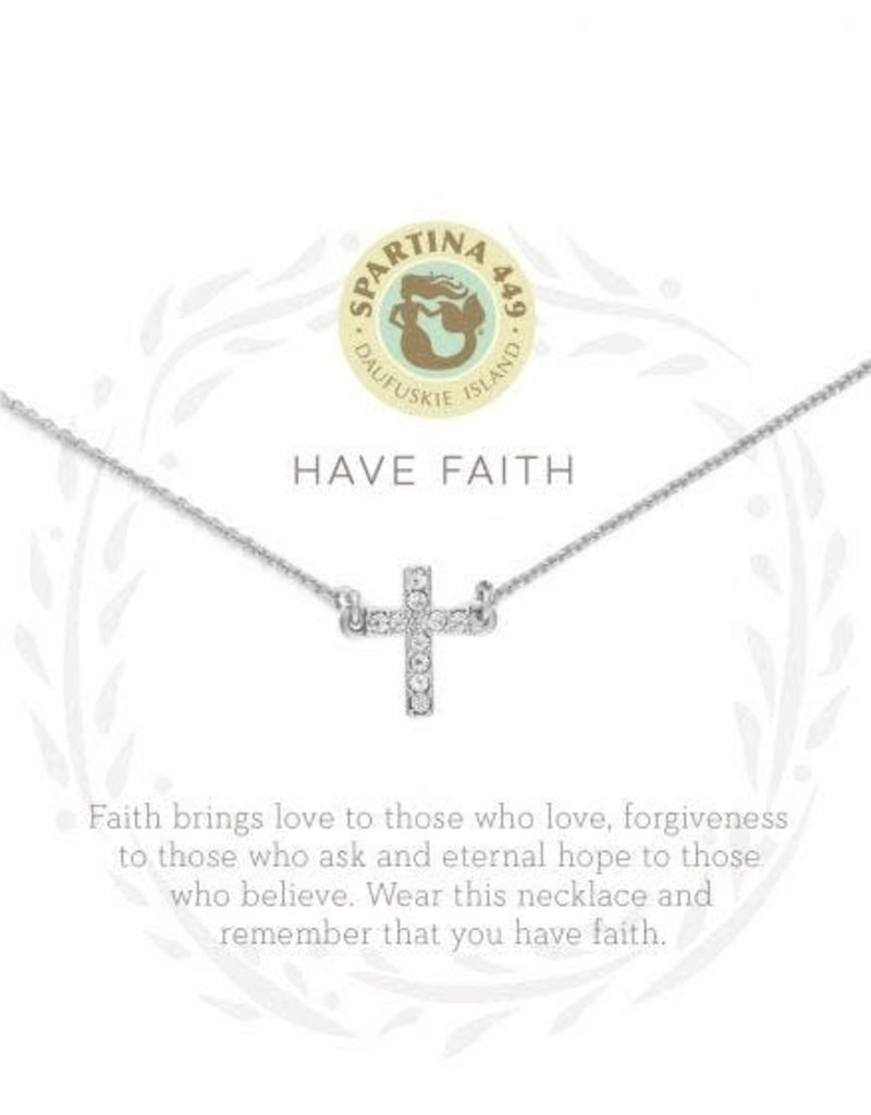 """SLV Necklace 18"""" Have Faith/Cross SIL"""