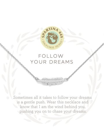"""SLV Necklace 18"""" Follow Your Dreams/Feather SIL"""