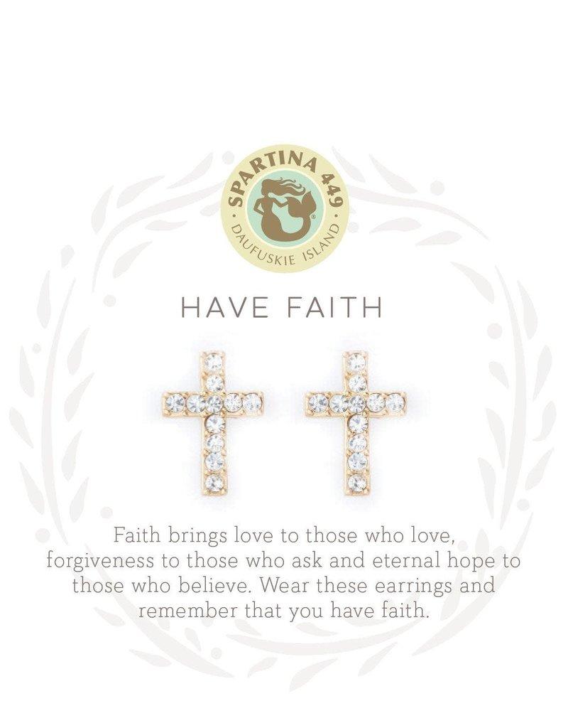 SLV Stud Earrings Have Faith/Cross