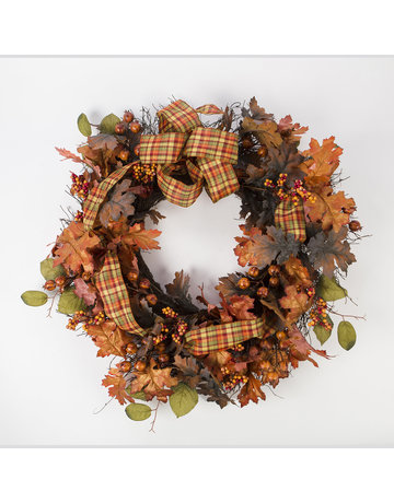 "28"" Fall Wreath With Ribbon"