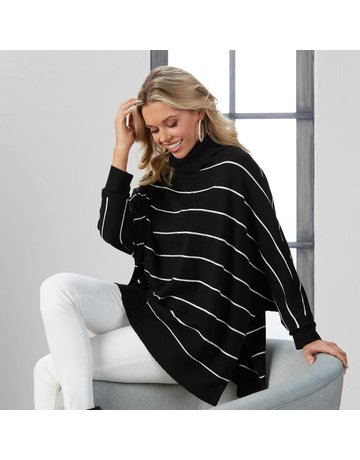 Mud Pie Alina Striped Turtleneck Sweater-Black