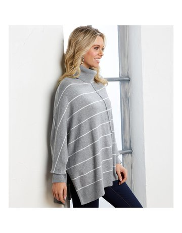 Mud Pie Alina Striped Turtleneck Sweater-Gray