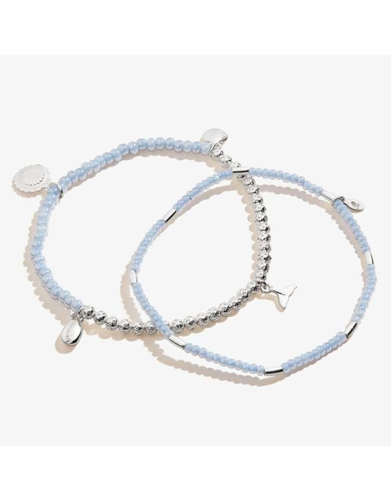 Whale Tail Multi Charm Stretch Anklet Set of 2, SS