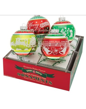 """Holiday Splendor 4 Count 4"""" Signature Flocked Rounds"""