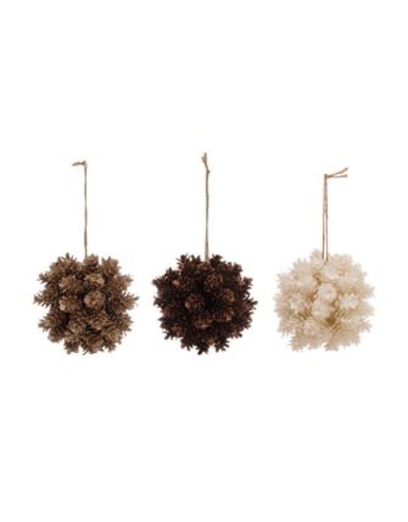 "4"" Pincone Ball Ornament With Glitter-Asst."