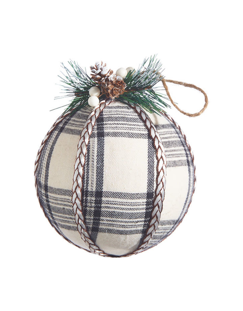 "5.75"" Plaid Ball Ornament"