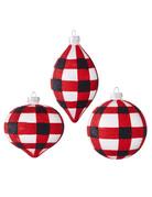 Plaid Black Red Ornament