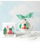 Happy Holidays Vintage Village Glass Ornament