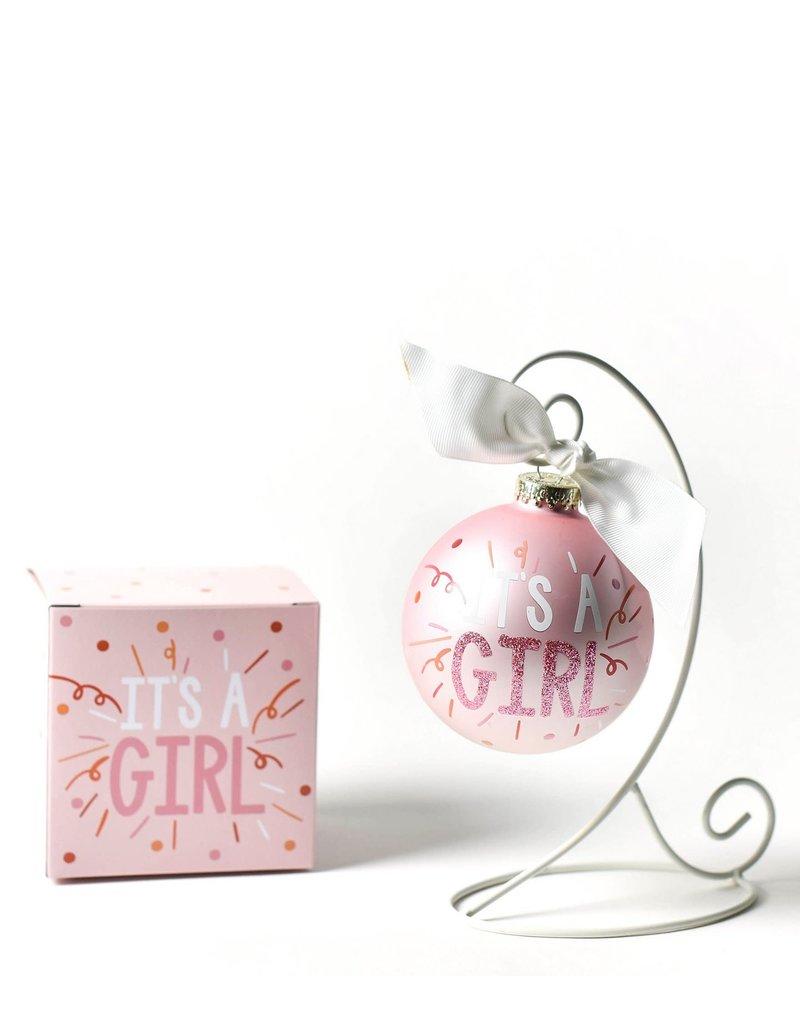 It's A Girl Popper Glass Ornament