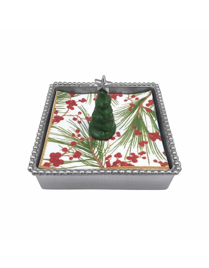 4063-C 3D Green Tree Beaded Napkin Box