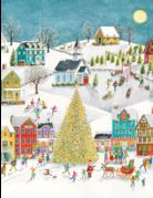 Winter Village Scene Boxed Cards-16 in.