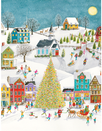 Winter Village Scene Boxed Cards-16 in.