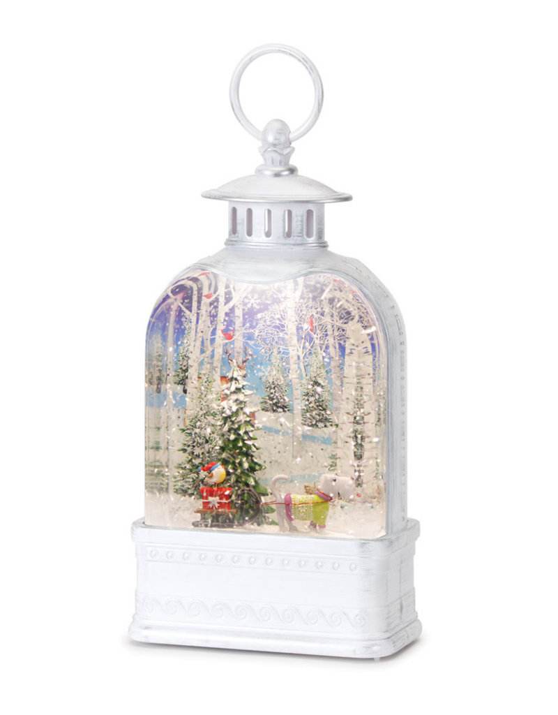 """Snow Globe Television w/Dog 10.5""""H Plastic 6 Hr Timer 3 AA Batteries, Not Included or USB Cord Included"""