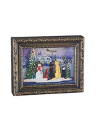 """9.75"""" Dogs Watching Santa Lighted Water Picture Frame"""