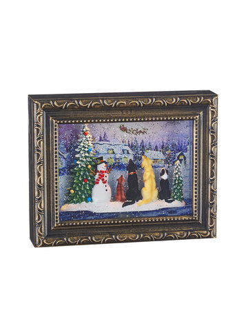 "9.75"" Dogs Watching Santa Lighted Water Picture Frame"
