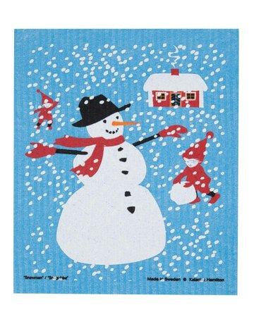 Snowman & Stuga  Dishcloth