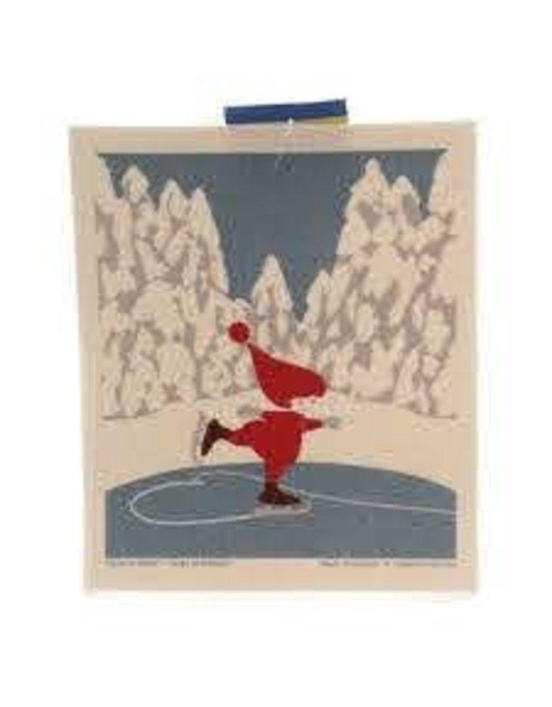 Skating Tomte Dishcloth