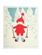 Skiing Tomte Dishcloth