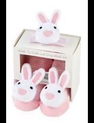 Mud Pie Pink Bunny Wrist Sock Rattle
